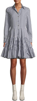 ANAÏS JOURDEN Striped Gathered Fit-and-Flare Shirtdress