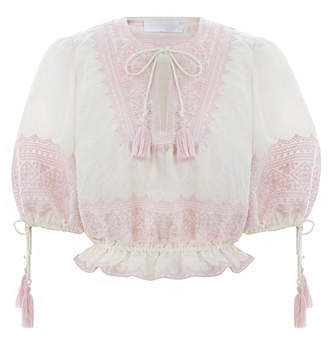 Zimmermann Laelia Embroidered Mini Blouse