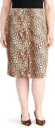 Rachel Roy Collection Slit Leopard Print Pencil Skirt