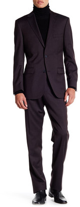 Ike Behar Red Checkered Two Button Notch Lapel Wool Suit $379.97 thestylecure.com