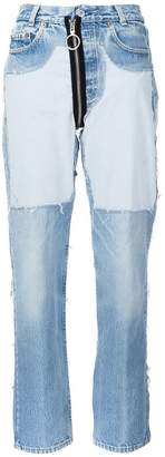 Off-White contrast panel boyfriend jeans
