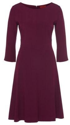 Hugo Boss Kusima Crepe A-Line Dress 0 Purple $545 thestylecure.com