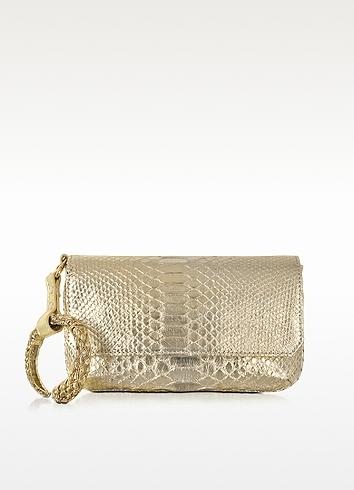 Roberto Cavalli Laminated Python Leather Clutch w/Bracelet