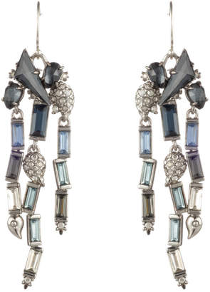 Alexis Bittar Fancy Stone Cluster With Ombre Crystal Baguette Fringe Wire Earring
