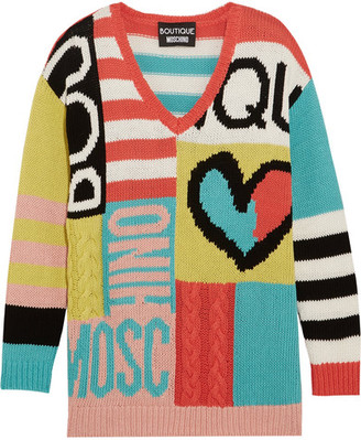 Boutique Moschino - Intarsia Cotton Sweater - Yellow $950 thestylecure.com