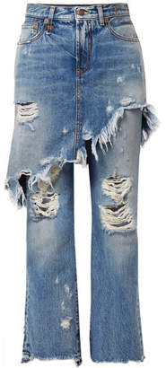 R 13 Double Classic Distressed Mid-rise Straight-leg Jeans - Mid denim