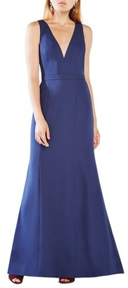 Women's Bcbgmaxazria 'Riva' Cutout Back Satin Gown $368 thestylecure.com