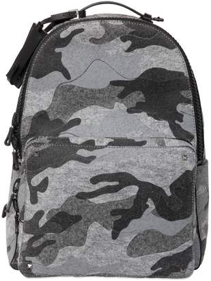 Valentino Camouflage Printed Cotton Felt Backpack