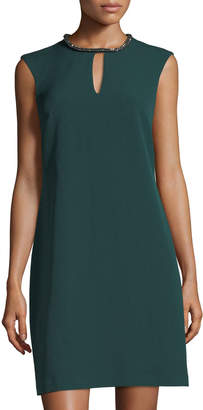 Donna Ricco Rhinestone Keyhole-Collar Shift Dress