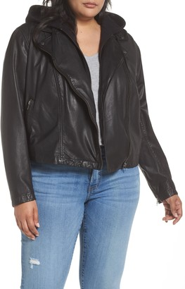 Caslon Hooded Leather Jacket with Removable Hood