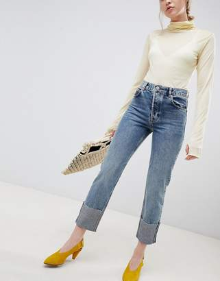 Asos DESIGN Florence authentic straight leg jeans in oxford wash with deep turn up