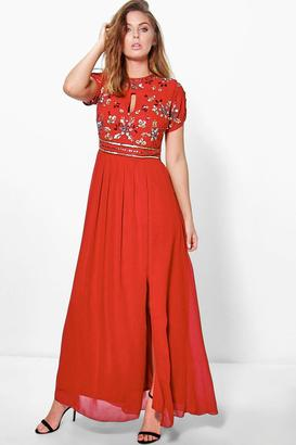 boohoo Callie Boutique Embellished Chiffon Maxi Dress