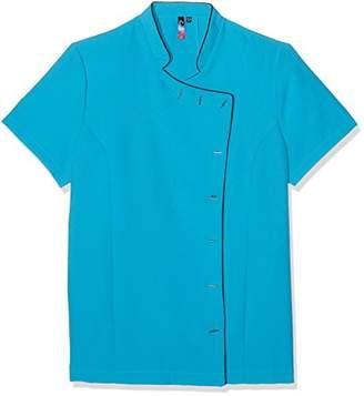 Josie Workwear World WW7 Turquoise & Black Oriental Beauty Tunic Uniform for Therapist Nail Salon Spa ()