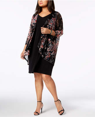 Connected Plus Size Printed-Jacket Dress