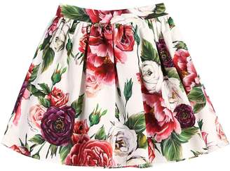 Dolce & Gabbana Rose Printed Cotton Poplin Skirt