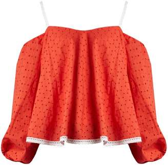 Anna October - Puff Sleeve Off The Shoulder Broderie Anglaise Top - Womens - Red
