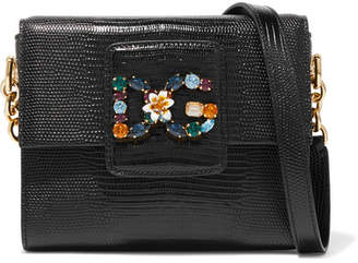 Dolce & Gabbana Milennials Embellished Lizard-effect Leather Shoulder Bag - Black
