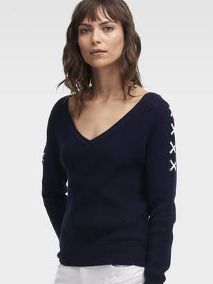 DKNY Lace-Up Sleeve Ribbed V-Neck