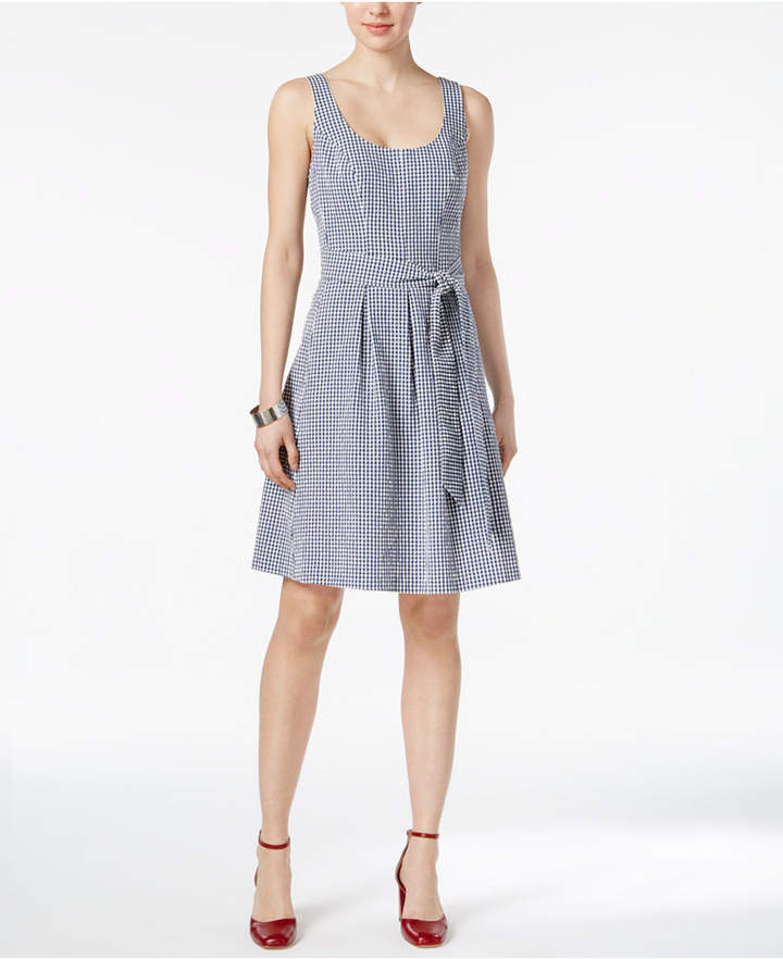 Nine West Gingham Belted Fit & Flare Dress