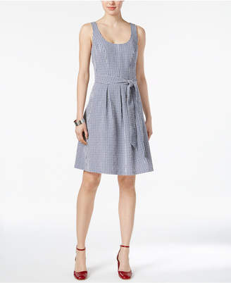 Nine West Gingham Belted Fit & Flare Dress $79 thestylecure.com
