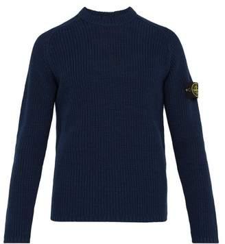 Stone Island Fisherman Knit Cotton Sweater - Mens - Blue