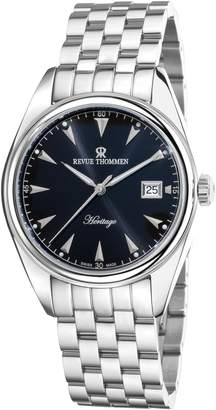 Revue Thommen 21010-2137 Men's Heritage Wrist Watch, Dial With Silver Band