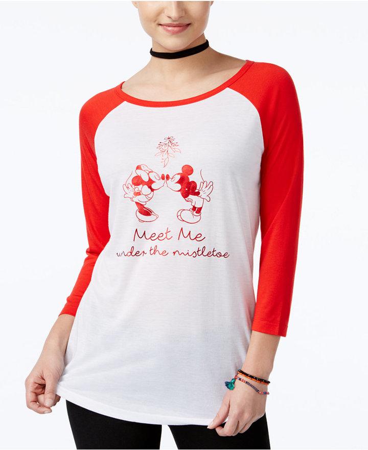 Freeze 24-7 Juniors' Disney Mickey & Minnie Mouse Graphic Baseball T-Shirt