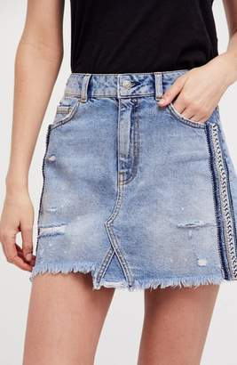 Free People Side Stripe Embellished Miniskirt