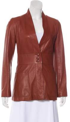 Hermes Leather Button-Up Jacket