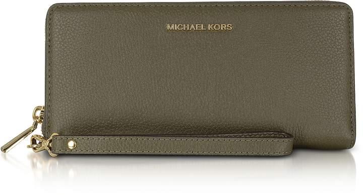 Michael Kors Mercer Large Olive Pebble Leather Continental Wallet