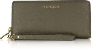 Michael Kors Mercer Large Olive Pebble Leather Continental Wallet