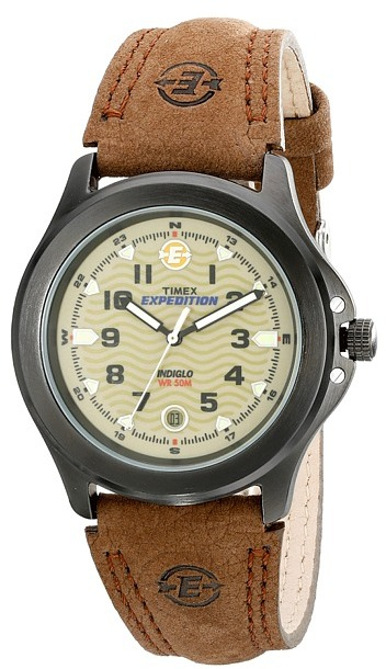 Timex - Metal Field EXPEDITION Brown Leather Strap Watch Watches