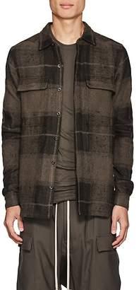 """Rick Owens Men's """"Dirt"""" Plaid Linen-Camel Hair Flannel Shirt"""