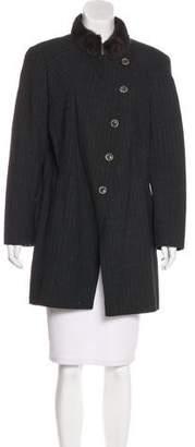Akris Mink-Trimmed Knee-Length Jacket