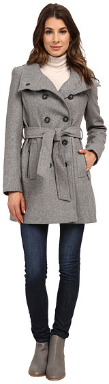 DKNYDKNY Double Breasted Stand Collar Trench w/ Zip Pockets 13439-Y5