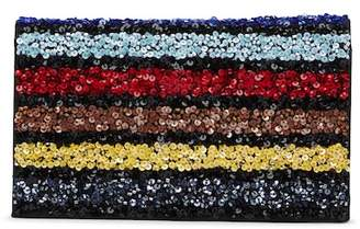 Alice + Olivia Embellished Colorblock Stripe Clutch