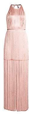 Herve Leger Women's Belted Fringe Gown