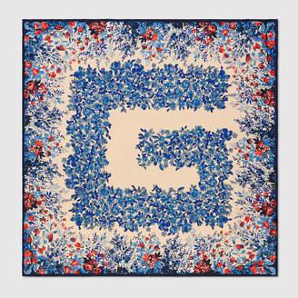 Gucci Floral Square G print silk scarf
