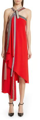 Monse Grosgrain Tie Neck Asymmetrical Midi Dress