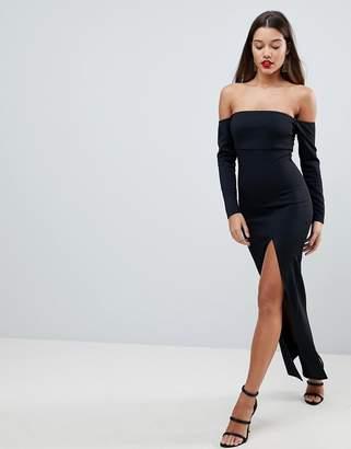 Bardot ASOS DESIGN ASOS Scuba Maxi Dress With Thigh Split