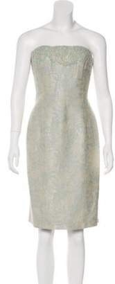 Carmen Marc Valvo Embellished Jacquard Dress w/ Tags Blue Embellished Jacquard Dress w/ Tags