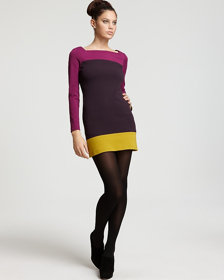 Milly Colorblocked Crepe Minidress