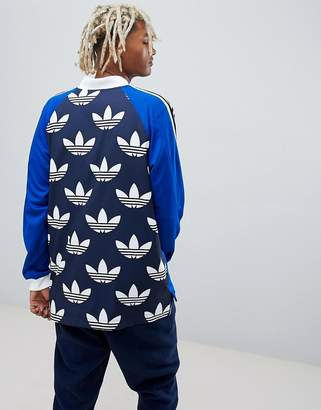 adidas B-Side Long Sleeve Jersey With Back Print In Blue DH5057