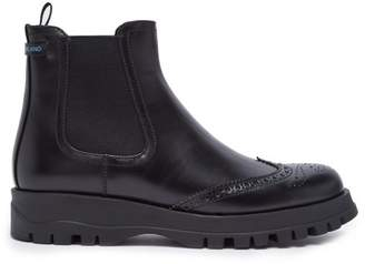 Prada Brogue Detail Leather Ankle Boot - Womens - Black