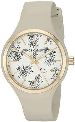 Vince Camuto Women's VC/5354CHIV Gold-Tone and Ivory Silicone Strap Watch