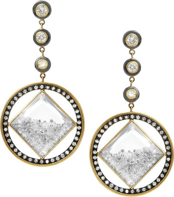 Moritz Glik Diamond and White Sapphire Drop Earrings