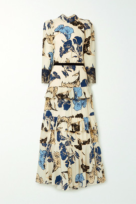 Johanna Ortiz Sheer Decoration Velvet And Lace-trimmed Floral-print Silk Crepe De Chine Maxi Dress - White