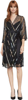 BCBGMAXAZRIA Devon Sequin Faux-Wrap Dress