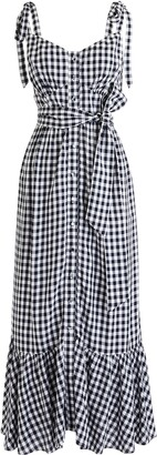 J.Crew Ruffle Button Front Gingham Midi Dress