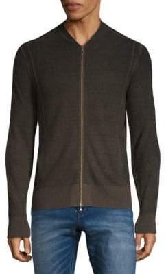 John Varvatos Silk-Cashmere Zip-Front Cardigan